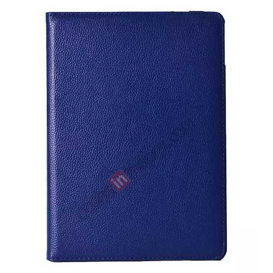 discount 360°Rotatable Litchi Pattern Leather Stand Case For iPad Air 2 - Dark blue