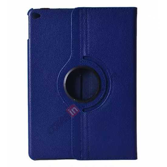 wholesale 360°Rotatable Litchi Pattern Leather Stand Case For iPad Air 2 - Dark blue