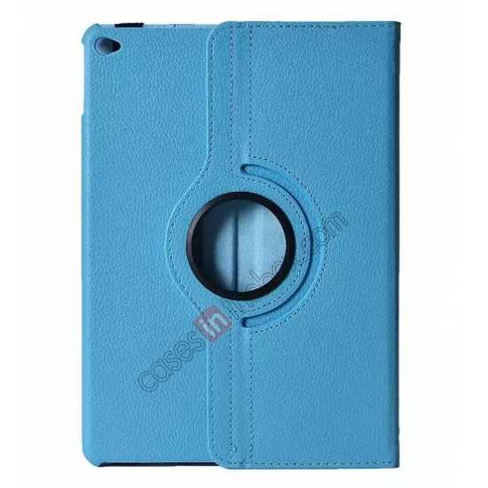 wholesale 360°Rotatable Litchi Pattern Leather Stand Case For iPad Air 2 - Light blue
