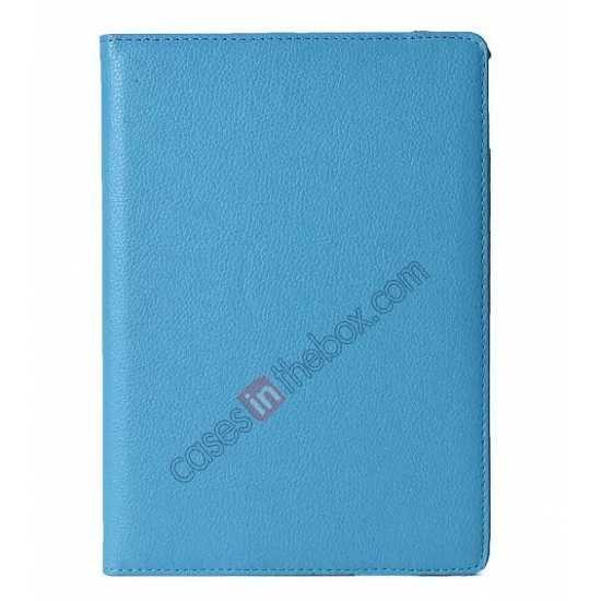 discount 360°Rotatable Litchi Pattern Leather Stand Case For iPad Air 2 - Light blue