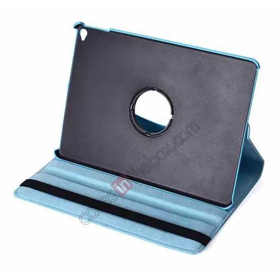 cheap 360°Rotatable Litchi Pattern Leather Stand Case For iPad Air 2 - Light blue
