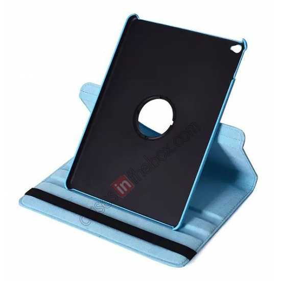 top quality 360°Rotatable Litchi Pattern Leather Stand Case For iPad Air 2 - Light blue
