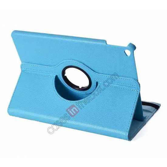 best price 360°Rotatable Litchi Pattern Leather Stand Case For iPad Air 2 - Light blue