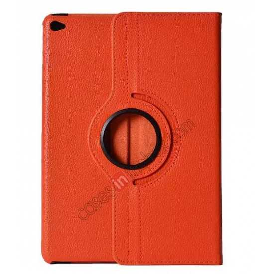 wholesale 360°Rotatable Litchi Pattern Leather Stand Case For iPad Air 2 - Orange