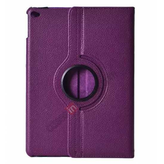 wholesale 360°Rotatable Litchi Pattern Leather Stand Case For iPad Air 2 - Purple