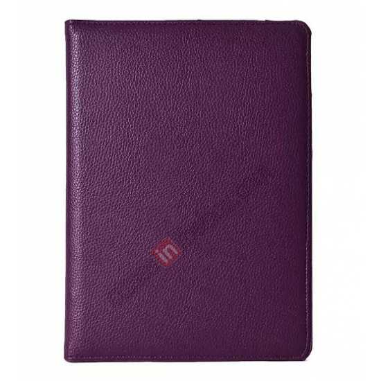 discount 360°Rotatable Litchi Pattern Leather Stand Case For iPad Air 2 - Purple