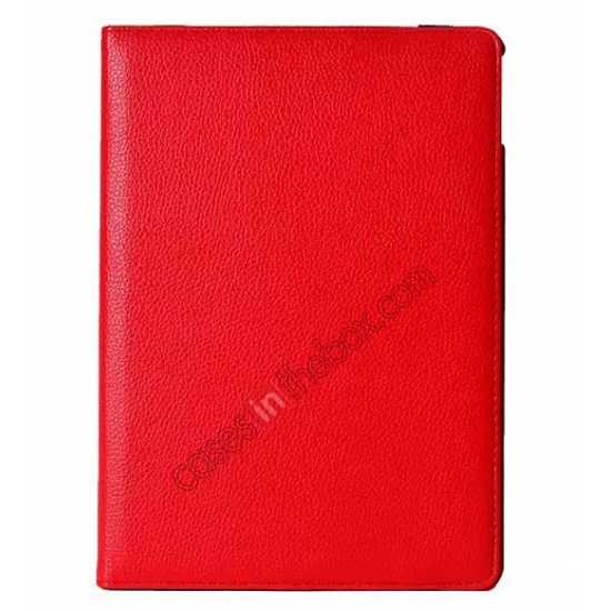 discount 360°Rotatable Litchi Pattern Leather Stand Case For iPad Air 2 - Red