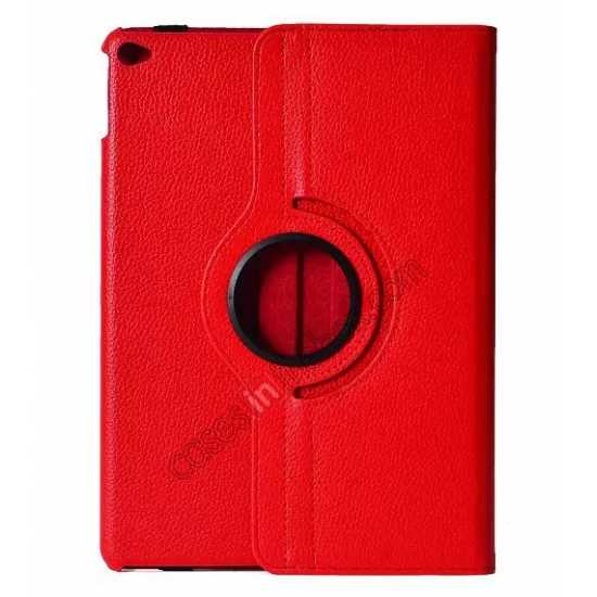 wholesale 360°Rotatable Litchi Pattern Leather Stand Case For iPad Air 2 - Red