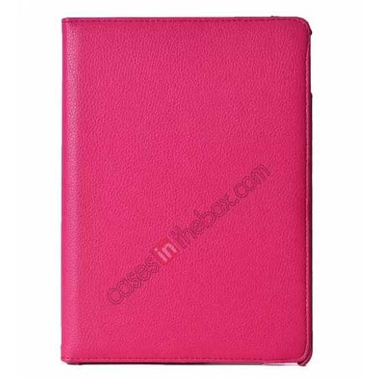 discount 360°Rotatable Litchi Pattern Leather Stand Case For iPad Air 2  - Rose red