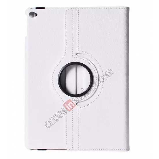 wholesale 360°Rotatable Litchi Pattern Leather Stand Case For iPad Air 2 - White