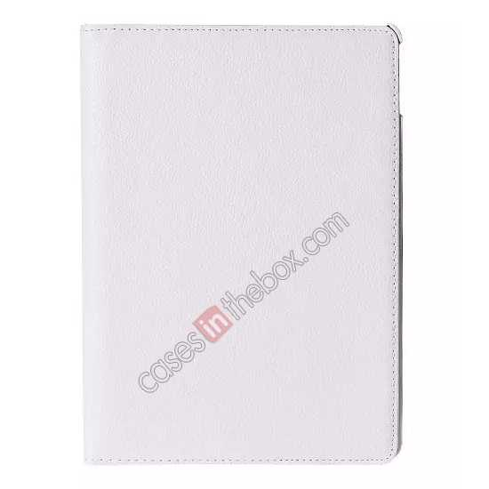 discount 360°Rotatable Litchi Pattern Leather Stand Case For iPad Air 2 - White