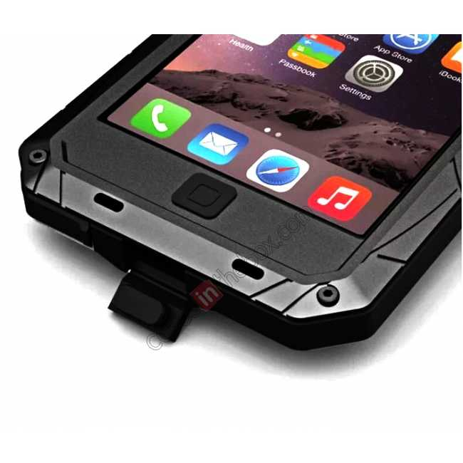 best price Aluminum Metal Gorilla Glass Waterproof Case Cover for iPhone 6/6S 4.7inch - Black