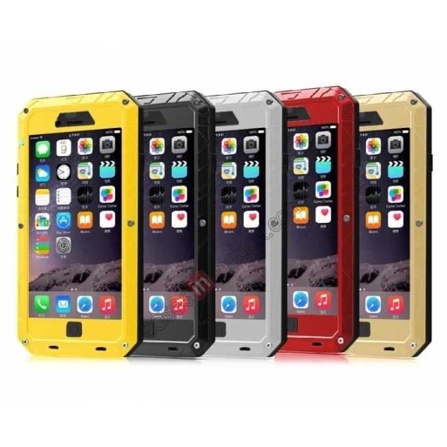 on sale Aluminum Metal Gorilla Glass Waterproof Case Cover for iPhone 6/6S 4.7inch - Black