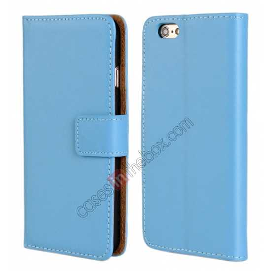 wholesale Genuine Leather Wallet Flip Case Cover For iPhone 6 Plus/6S Plus 5.5inch - Blue