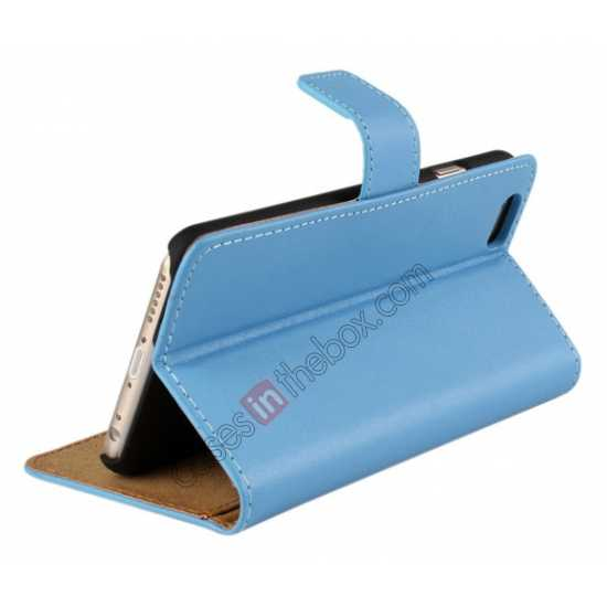 discount Genuine Leather Wallet Flip Case Cover For iPhone 6 Plus/6S Plus 5.5inch - Blue