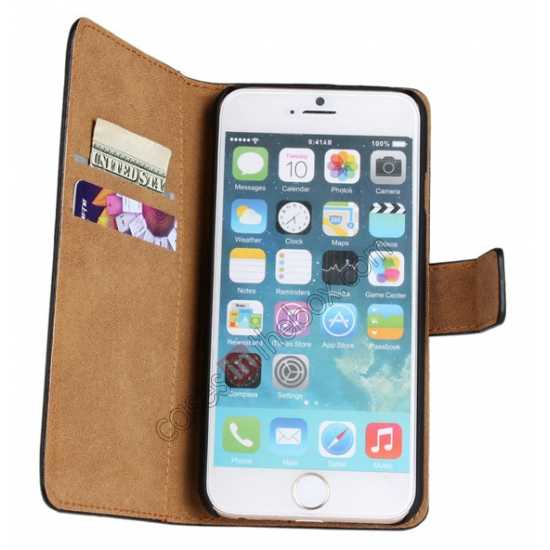 top quality Genuine Leather Wallet Flip Case Cover For iPhone 6 Plus/6S Plus 5.5inch - Blue
