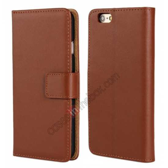 wholesale Genuine Leather Wallet Flip Case Cover For iPhone 6 Plus/6S Plus 5.5inch - Brown