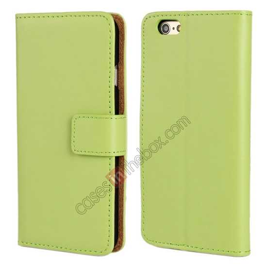 wholesale Genuine Leather Wallet Flip Case Cover For iPhone 6 Plus/6S Plus 5.5inch - Green