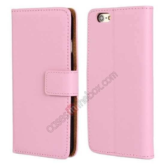 wholesale Genuine Leather Wallet Flip Case Cover For iPhone 6 Plus/6S Plus 5.5inch - Pink