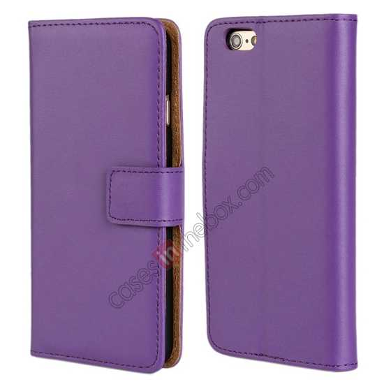 wholesale Genuine Leather Wallet Flip Case Cover For iPhone 6 Plus/6S Plus 5.5inch - Purple
