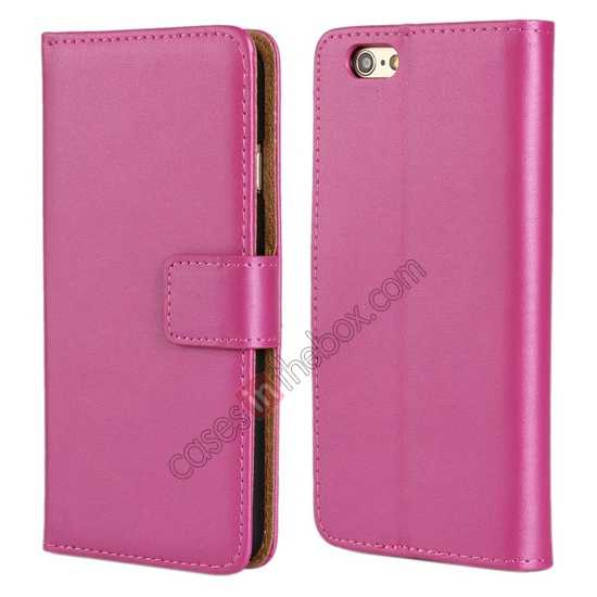 wholesale Genuine Leather Wallet Flip Case Cover For iPhone 6 Plus/6S Plus 5.5inch - Rose red