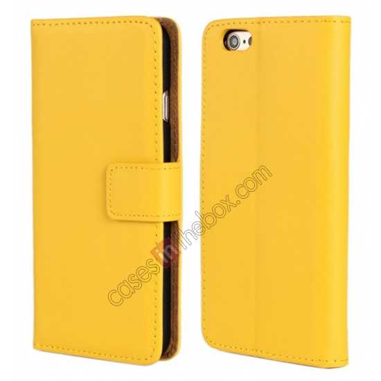 wholesale Genuine Leather Wallet Flip Case Cover For iPhone 6 Plus/6S Plus 5.5inch - Yellow