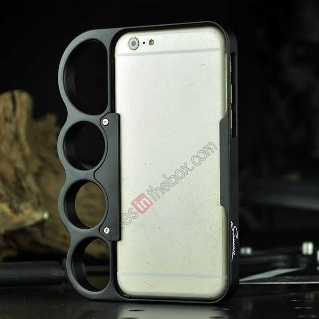 discount Aluminum Metal Knuckle Ring Bumper Case Frame Protector For iPhone 6/6S 4.7 Inch - Black