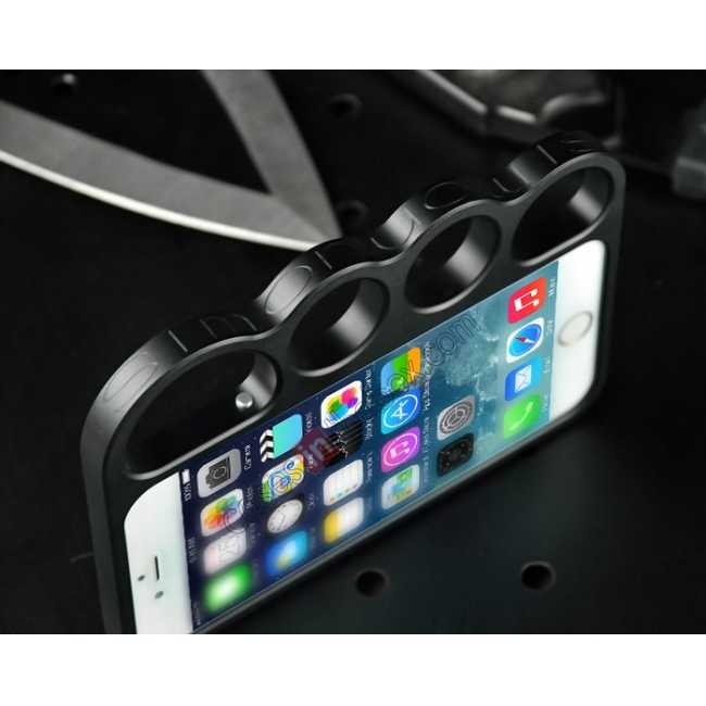 cheap Aluminum Metal Knuckle Ring Bumper Case Frame Protector For iPhone 6/6S 4.7 Inch - Black