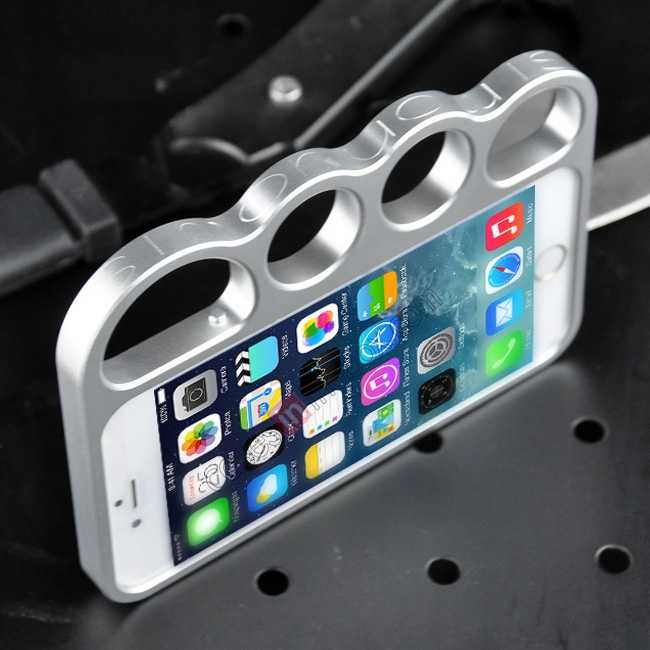 top quality Aluminum Metal Knuckle Ring Bumper Case Frame Protector For iPhone 6/6S 4.7 Inch - Silver