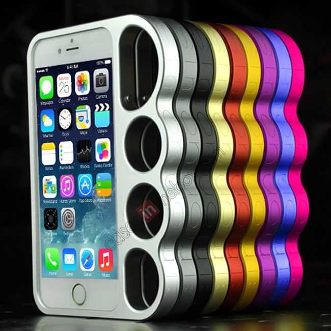 high quanlity Aluminum Metal Knuckle Ring Bumper Case Frame Protector For iPhone 6/6S 4.7 Inch - Silver