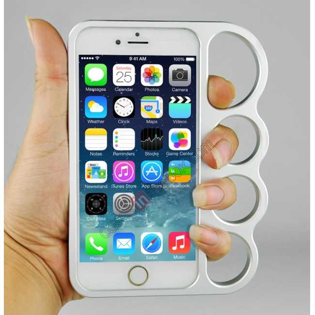 cheap Aluminum Metal Knuckle Ring Bumper Case Frame Protector For iPhone 6/6S 4.7 Inch - Silver
