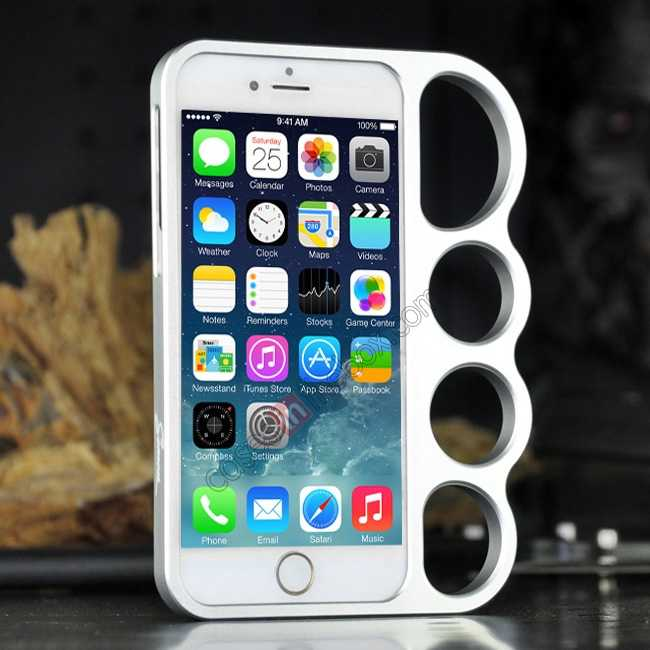 wholesale Aluminum Metal Knuckle Ring Bumper Case Frame Protector For iPhone 6/6S 4.7 Inch - Silver