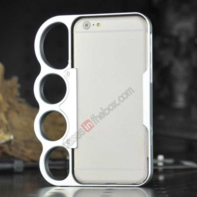 discount Aluminum Metal Knuckle Ring Bumper Case Frame Protector For iPhone 6/6S 4.7 Inch - Silver