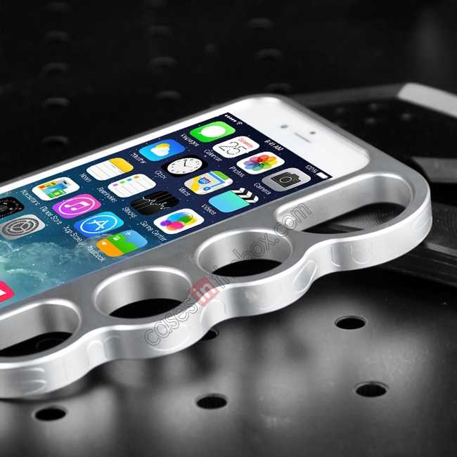 on sale Aluminum Metal Knuckle Ring Bumper Case Frame Protector For iPhone 6/6S 4.7 Inch - Silver