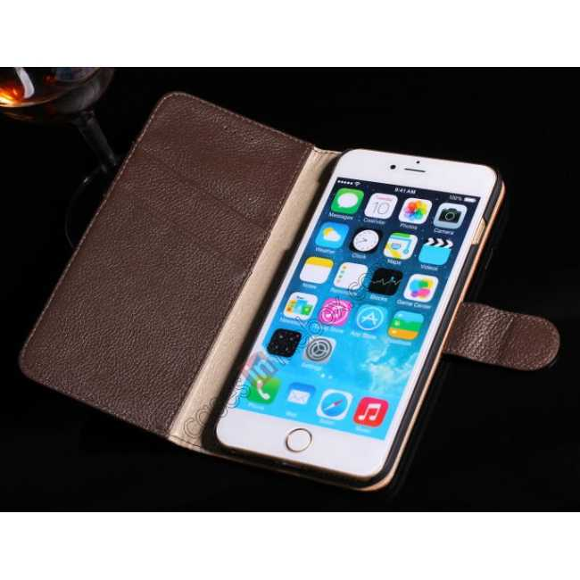 top quality Lichee Pattern Genuine cowhide leather wallet case for iPhone 6 Plus/6S Plus 5.5inch - Black