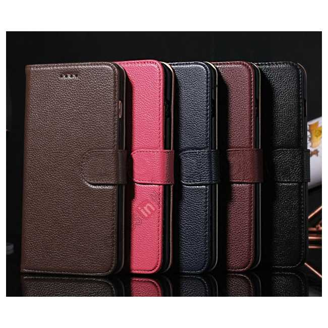 on sale Lichee Pattern Genuine cowhide leather wallet case for iPhone 6 Plus/6S Plus 5.5inch - Black