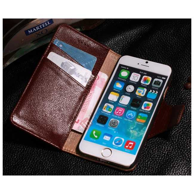 best price Luxury Head Layer Cowhide Genuine Leather Flip Stand Case for iPhone 6/6S 4.7inch - Dark blue