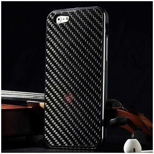 wholesale Aluminium Metal Bumper + Carbon fiber back cover case For iPhone 6/6S 4.7inch - Black