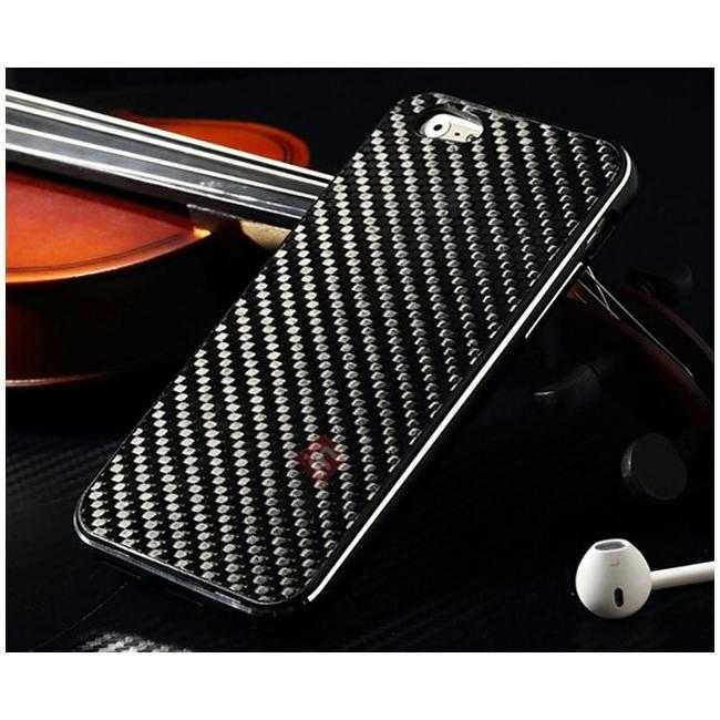 discount Aluminium Metal Bumper + Carbon fiber back cover case For iPhone 6/6S 4.7inch - Black