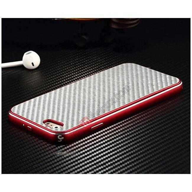 discount Aluminium Metal Bumper + Carbon fiber back cover case For iPhone 6/6S 4.7inch - Red/Silver