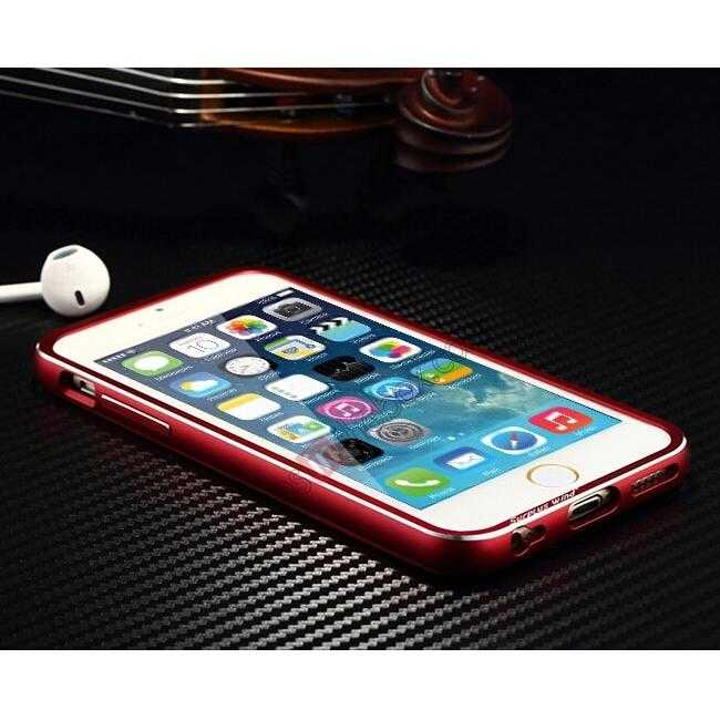 cheap Aluminium Metal Bumper + Carbon fiber back cover case For iPhone 6/6S 4.7inch - Red/Silver