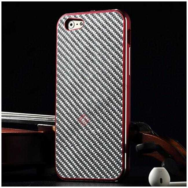 wholesale Aluminium Metal Bumper + Carbon fiber back cover case For iPhone 6/6S 4.7inch - Red/Silver