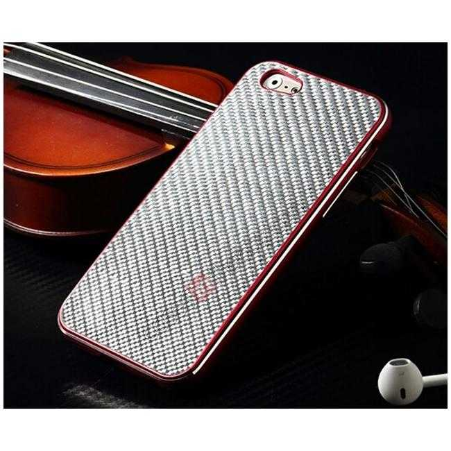 top quality Aluminium Metal Bumper + Carbon fiber back cover case For iPhone 6/6S 4.7inch - Red/Silver