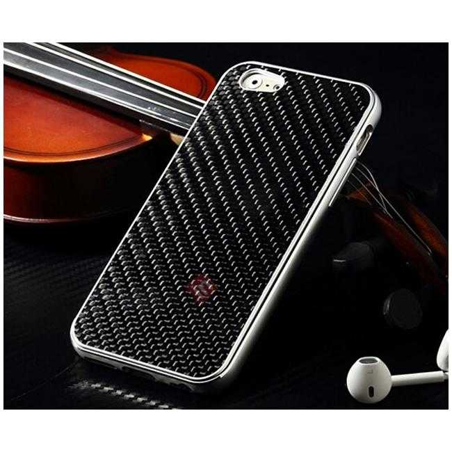 discount Aluminium Metal Bumper + Carbon fiber back cover case For iPhone 6/6S 4.7inch - Silver/Black
