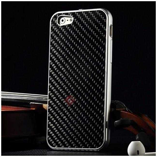 wholesale Aluminium Metal Bumper + Carbon fiber back cover case For iPhone 6/6S 4.7inch - Silver/Black