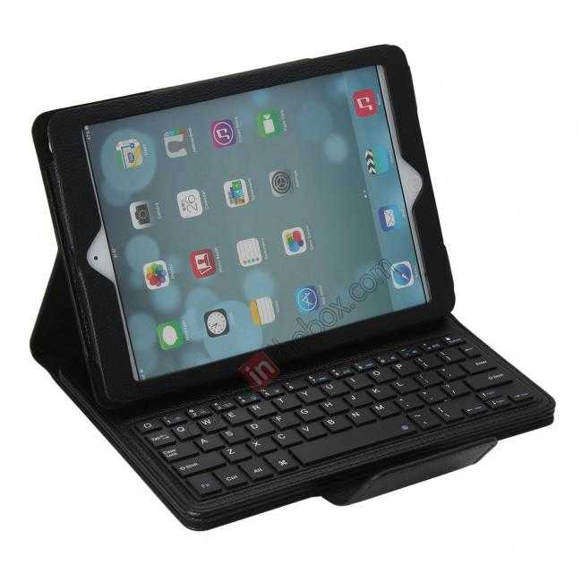 wholesale Detachable Bluetooth Wireless Keyboard Leather Case With stand for iPad air 2 - Black