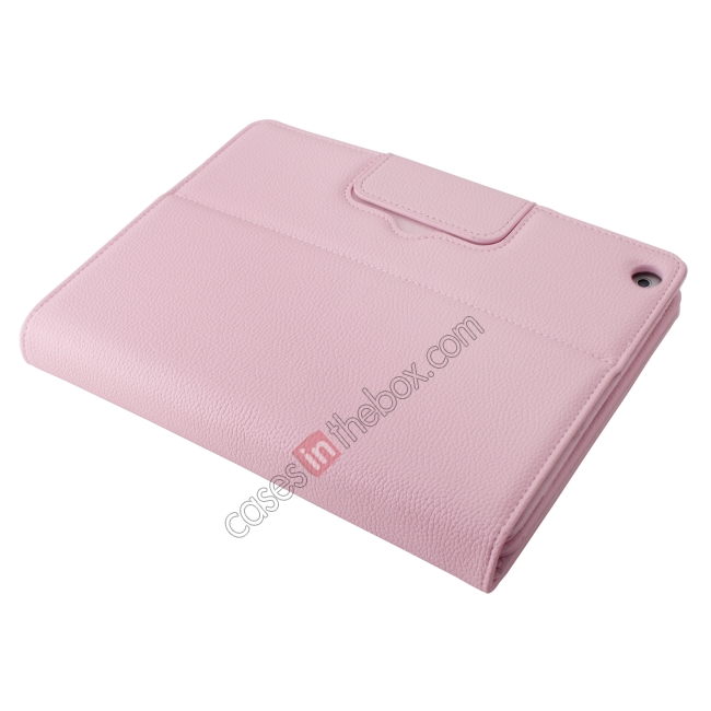 best price Detachable Bluetooth Wireless Keyboard Leather Case With stand for iPad air 2 - Pink