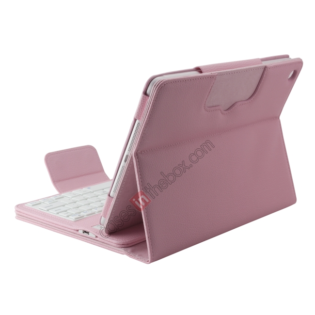 cheap Detachable Bluetooth Wireless Keyboard Leather Case With stand for iPad air 2 - Pink