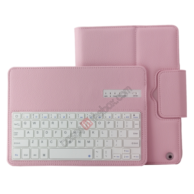 top quality Detachable Bluetooth Wireless Keyboard Leather Case With stand for iPad air 2 - Pink