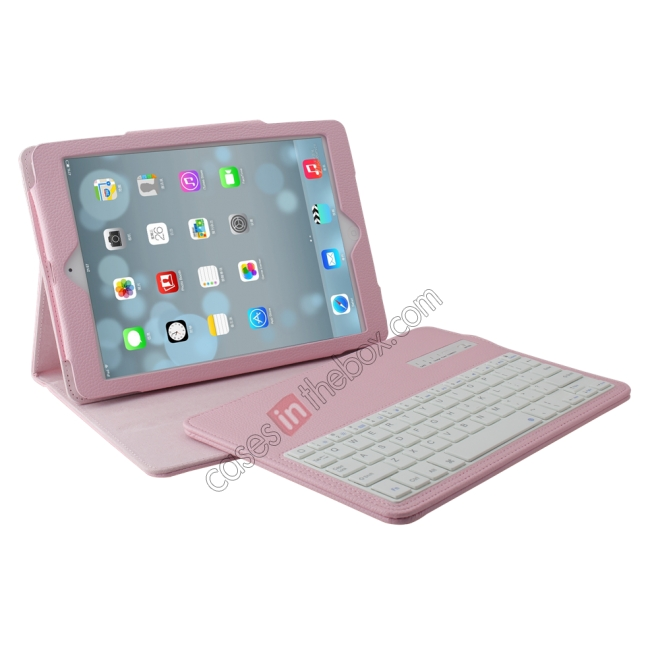 discount Detachable Bluetooth Wireless Keyboard Leather Case With stand for iPad air 2 - Pink